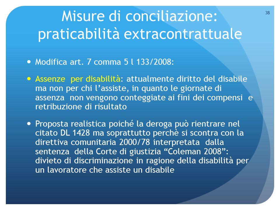 Misure di conciliazione: praticabilità extracontrattuale Modifica art. 7 comma 5 l 133/2008: Assenze per disabilità: attualmente diritto del disabile
