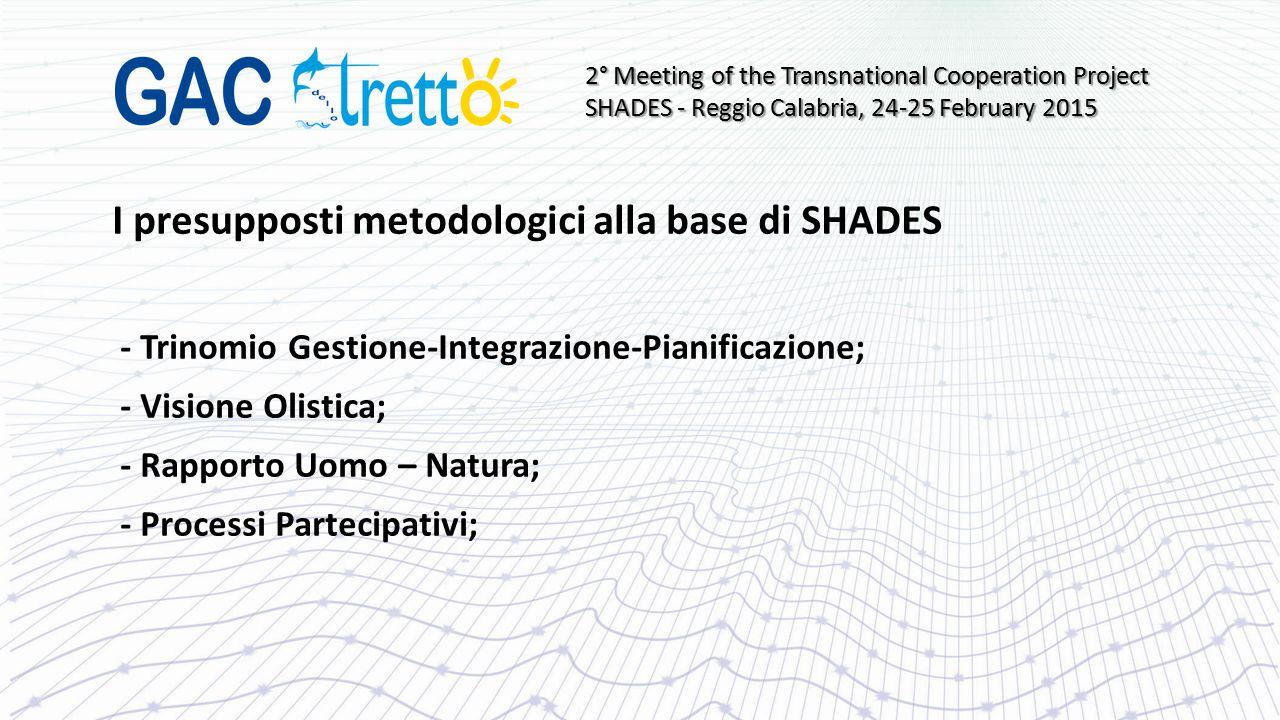 I presupposti metodologici alla base di SHADES - Trinomio Gestione-Integrazione-Pianificazione; - Visione Olistica; - Rapporto Uomo – Natura; - Proces