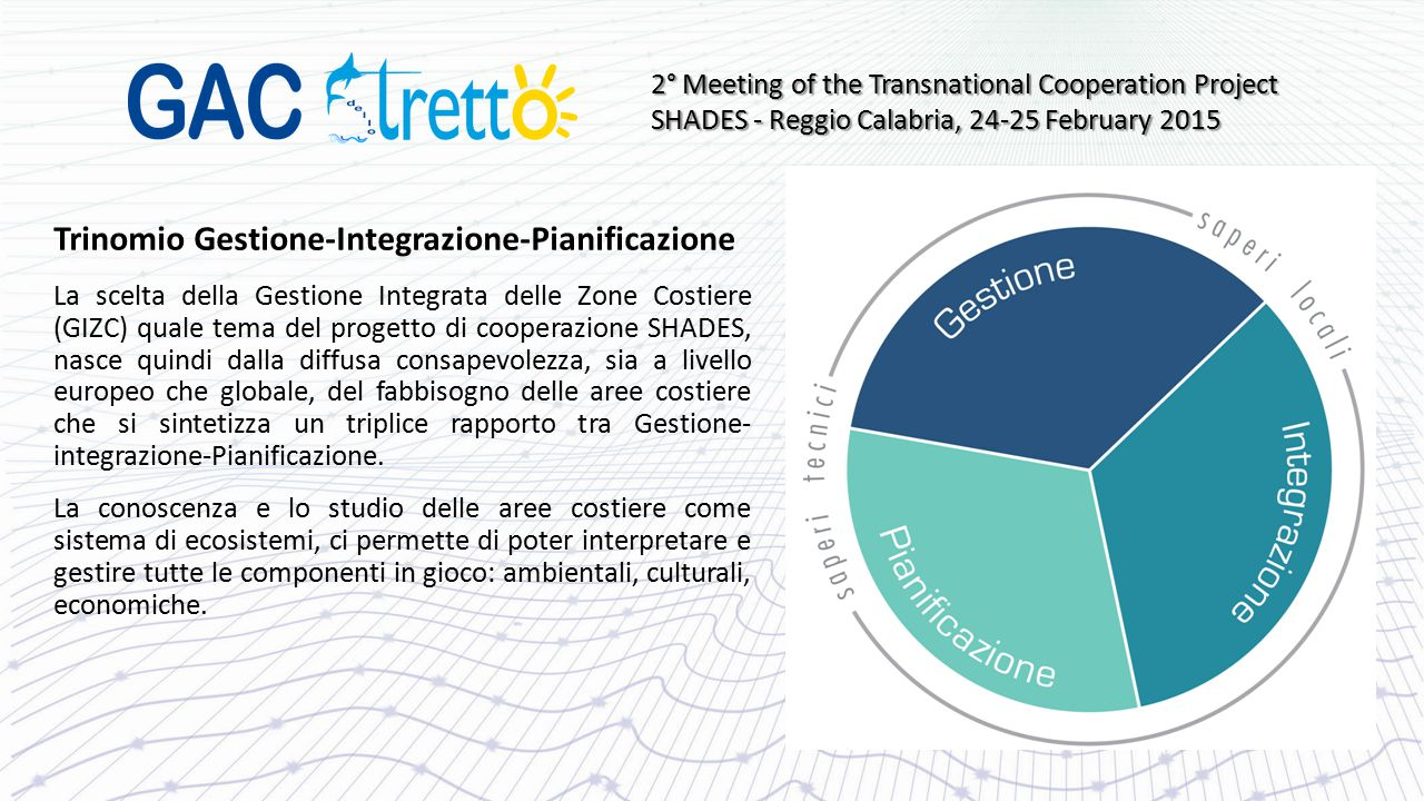 Trinomio Gestione-Integrazione-Pianificazione La scelta della Gestione Integrata delle Zone Costiere (GIZC) quale tema del progetto di cooperazione SH