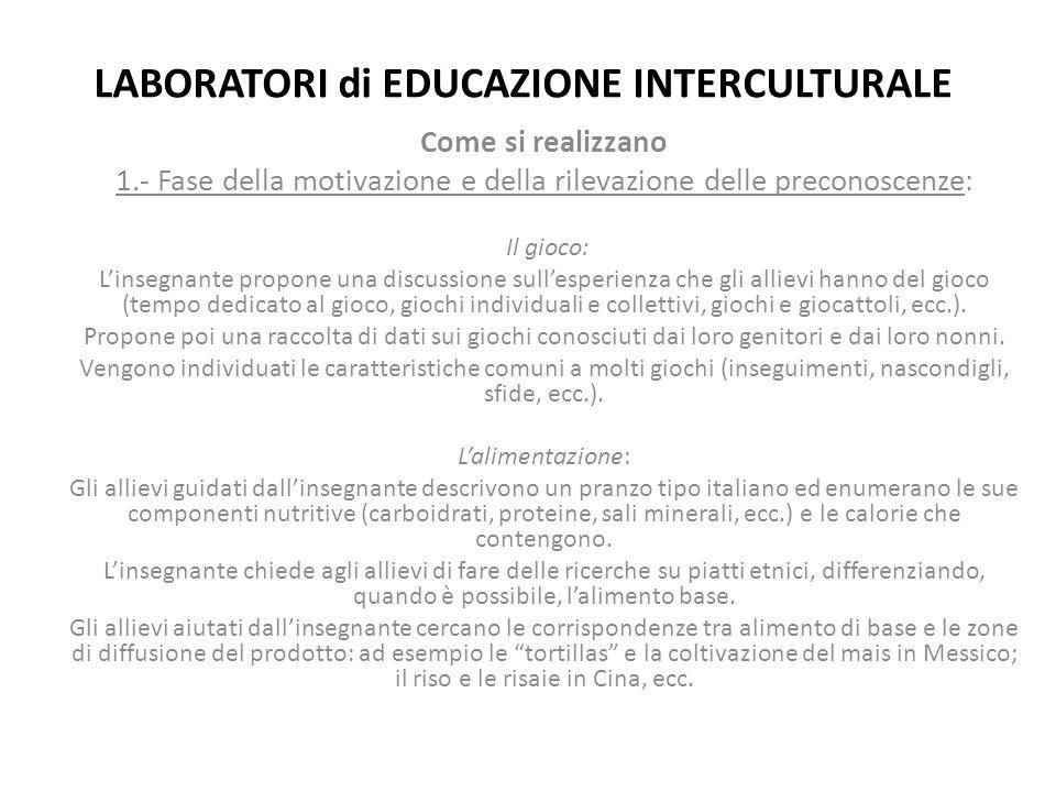 LABORATORI di EDUCAZIONE INTERCULTURALE Come si realizzano 1.- Fase della motivazione e della rilevazione delle preconoscenze: Il gioco: L'insegnante