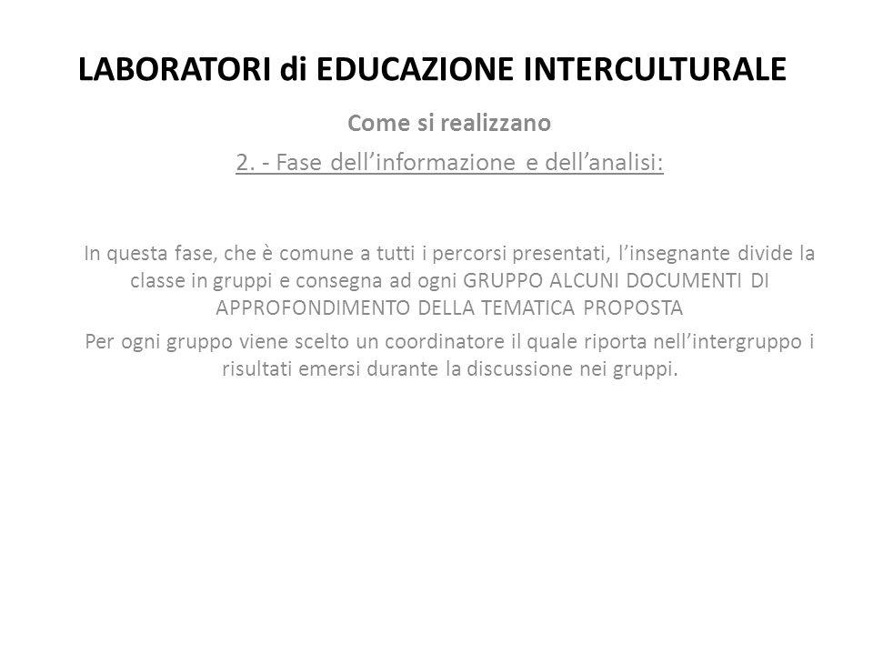 LABORATORI di EDUCAZIONE INTERCULTURALE Come si realizzano 2. - Fase dell'informazione e dell'analisi: In questa fase, che è comune a tutti i percorsi