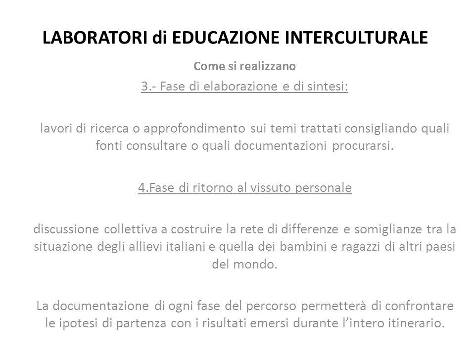 LABORATORI di EDUCAZIONE INTERCULTURALE Come si realizzano 3.- Fase di elaborazione e di sintesi: lavori di ricerca o approfondimento sui temi trattat