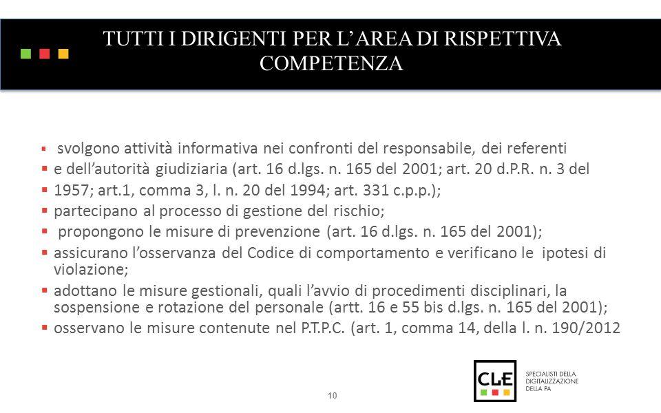 TUTTI I DIRIGENTI PER L'AREA DI RISPETTIVA COMPETENZA  svolgono attività informativa nei confronti del responsabile, dei referenti  e dell'autorità giudiziaria (art.