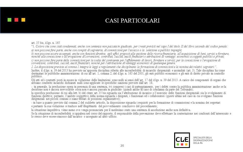 CASI PARTICOLARI art. 35 bis, d.lgs. n. 165 1.