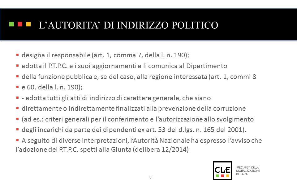 L'AUTORITA' DI INDIRIZZO POLITICO  designa il responsabile (art.