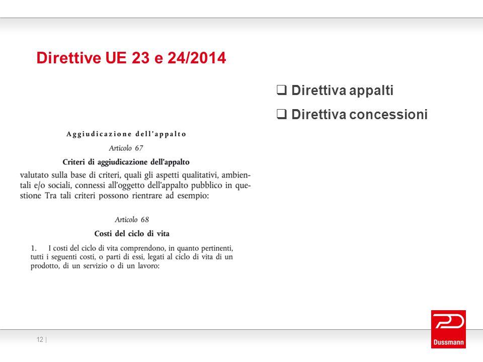 Direttive UE 23 e 24/2014  Direttiva appalti  Direttiva concessioni 12 |