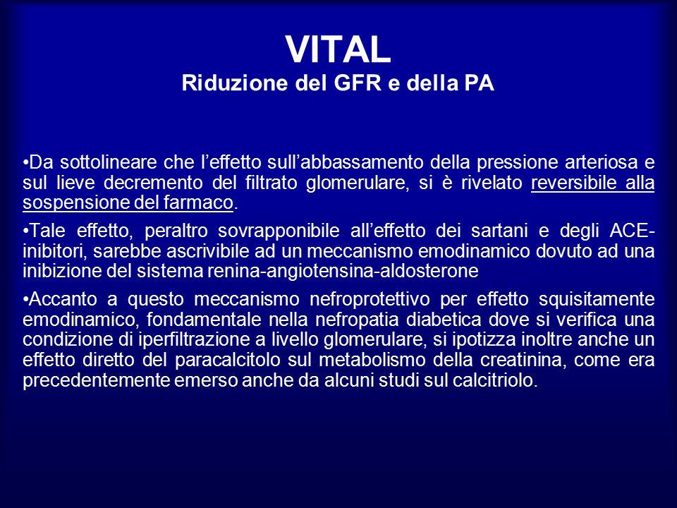 VITAL Riduzione del GFR e della PA Da sottolineare che l'effetto sull'abbassamento della pressione arteriosa e sul lieve decremento del filtrato glome