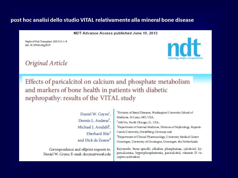 post hoc analisi dello studio VITAL relativamente alla mineral bone disease