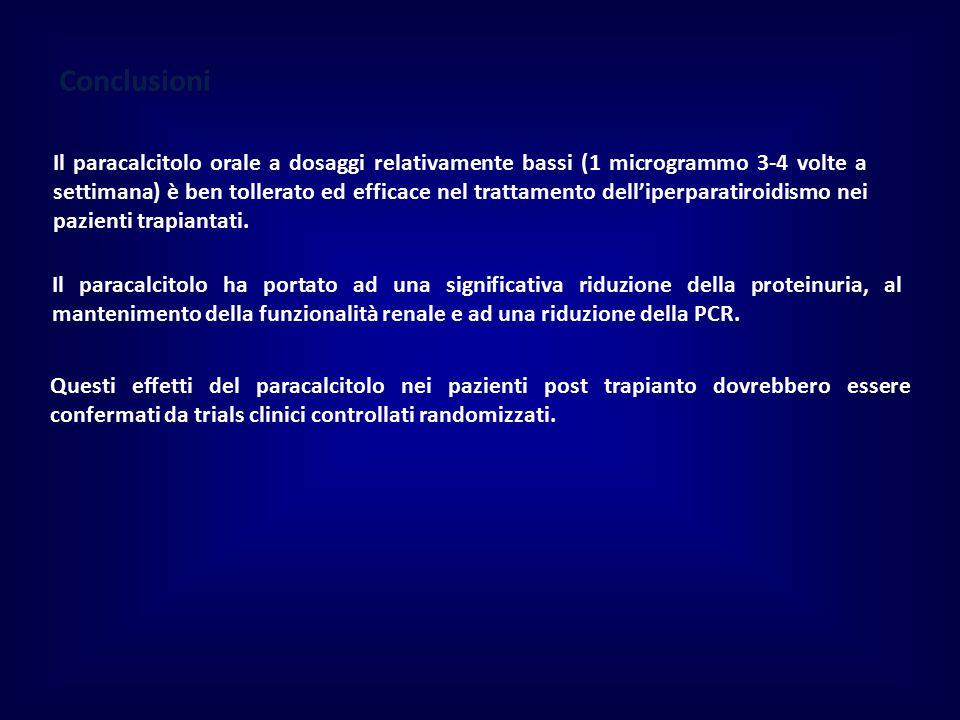 Conclusioni Il paracalcitolo orale a dosaggi relativamente bassi (1 microgrammo 3-4 volte a settimana) è ben tollerato ed efficace nel trattamento dell'iperparatiroidismo nei pazienti trapiantati.