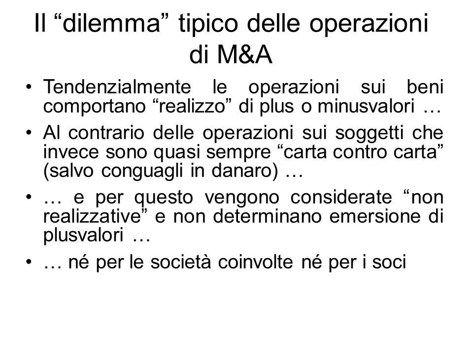 """Il """"dilemma"""" tipico delle operazioni di M&A Tendenzialmente le operazioni sui beni comportano """"realizzo"""" di plus o minusvalori … Al contrario delle op"""
