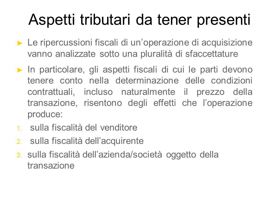 Aspetti tributari da tener presenti ► Le ripercussioni fiscali di un'operazione di acquisizione vanno analizzate sotto una pluralità di sfaccettature