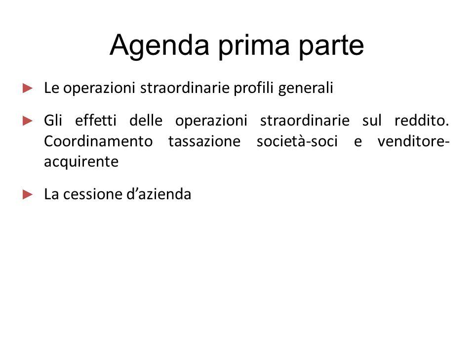 Agenda prima parte ► Le operazioni straordinarie profili generali ► Gli effetti delle operazioni straordinarie sul reddito. Coordinamento tassazione s