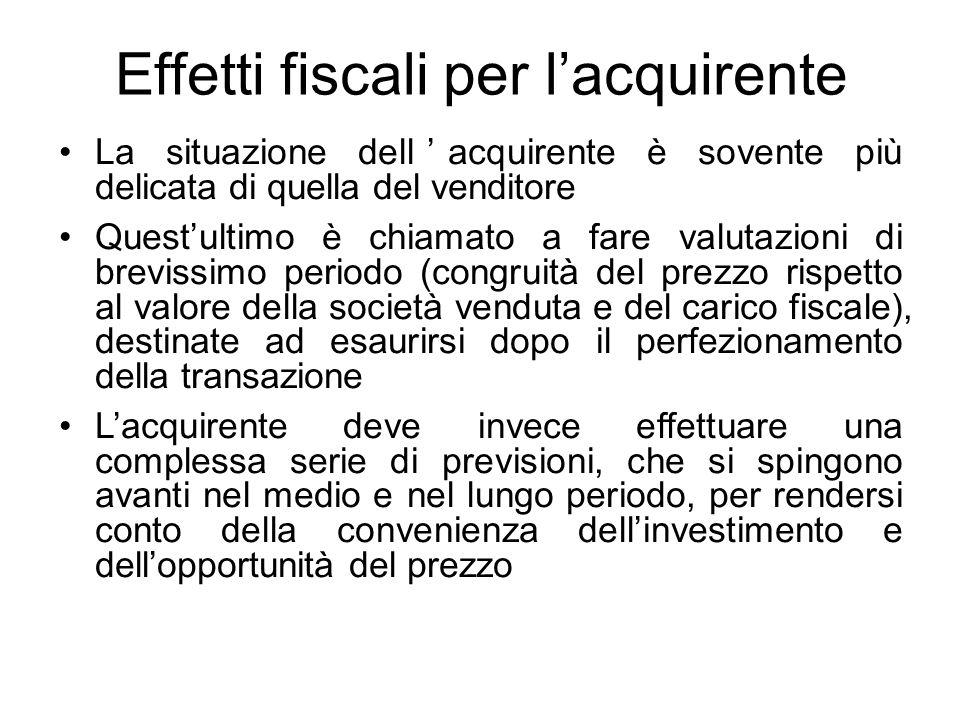 Effetti fiscali per l'acquirente La situazione dell'acquirente è sovente più delicata di quella del venditore Quest'ultimo è chiamato a fare valutazio