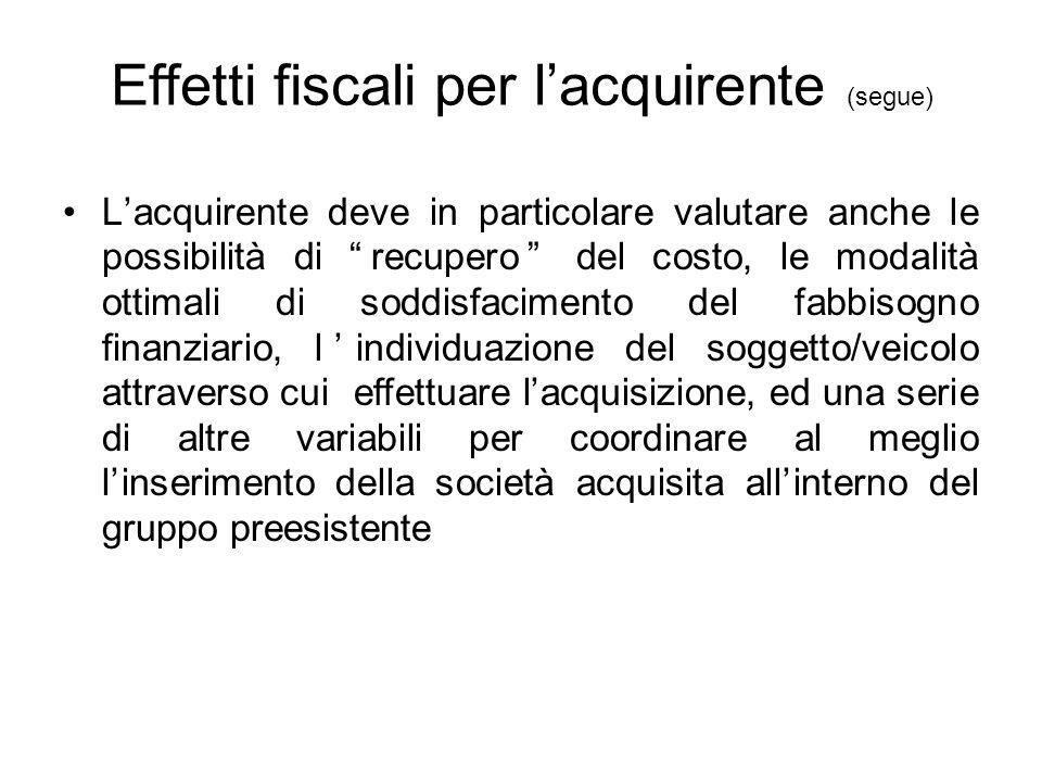 """Effetti fiscali per l'acquirente (segue) L'acquirente deve in particolare valutare anche le possibilità di """"recupero"""" del costo, le modalità ottimali"""