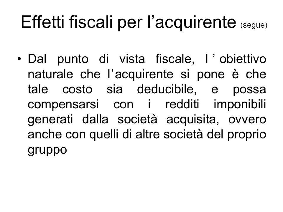 Effetti fiscali per l'acquirente (segue) Dal punto di vista fiscale, l'obiettivo naturale che l'acquirente si pone è che tale costo sia deducibile, e