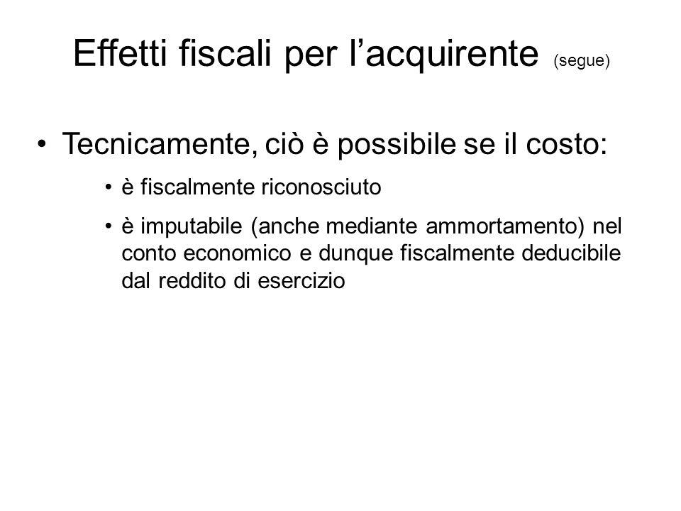 Effetti fiscali per l'acquirente (segue) Tecnicamente, ciò è possibile se il costo: è fiscalmente riconosciuto è imputabile (anche mediante ammortamen