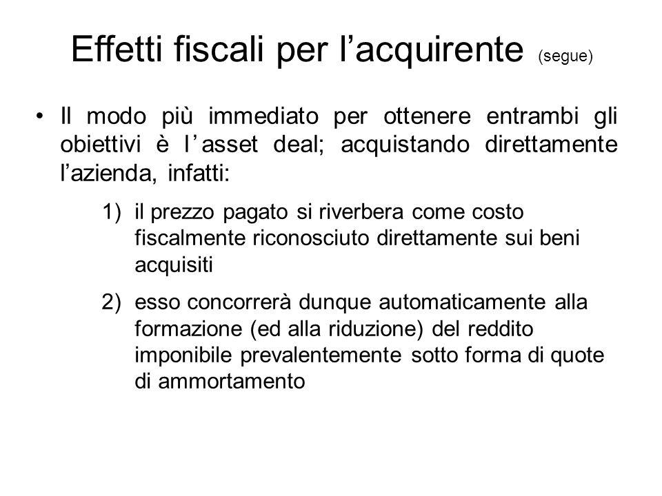 Effetti fiscali per l'acquirente (segue) Il modo più immediato per ottenere entrambi gli obiettivi è l'asset deal; acquistando direttamente l'azienda,