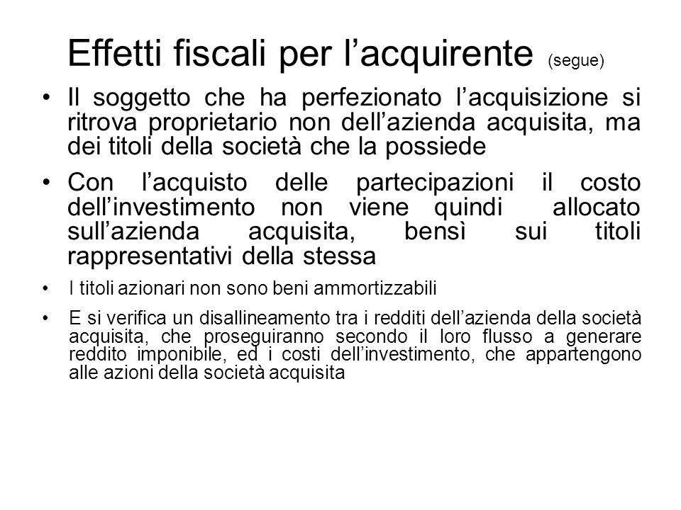 Effetti fiscali per l'acquirente (segue) Il soggetto che ha perfezionato l'acquisizione si ritrova proprietario non dell'azienda acquisita, ma dei tit