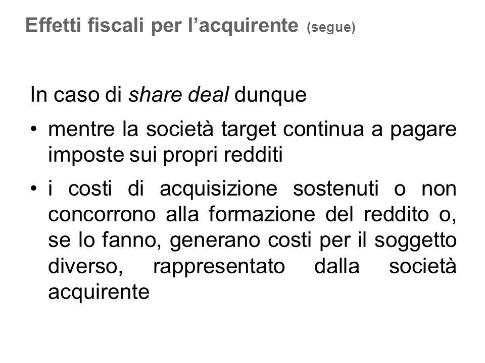 In caso di share deal dunque mentre la società target continua a pagare imposte sui propri redditi i costi di acquisizione sostenuti o non concorrono