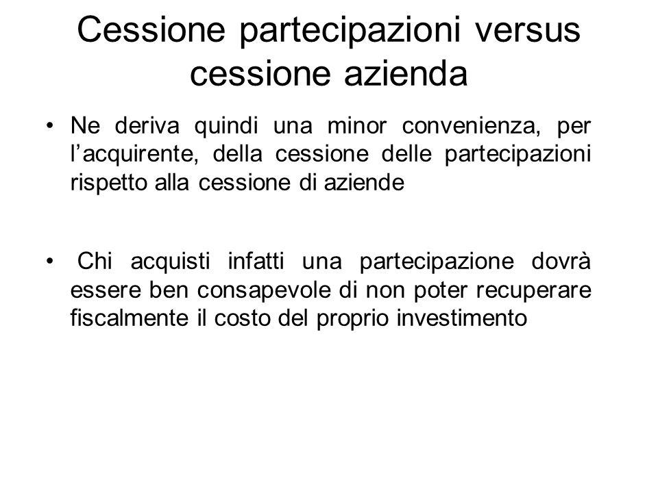Cessione partecipazioni versus cessione azienda Ne deriva quindi una minor convenienza, per l'acquirente, della cessione delle partecipazioni rispetto