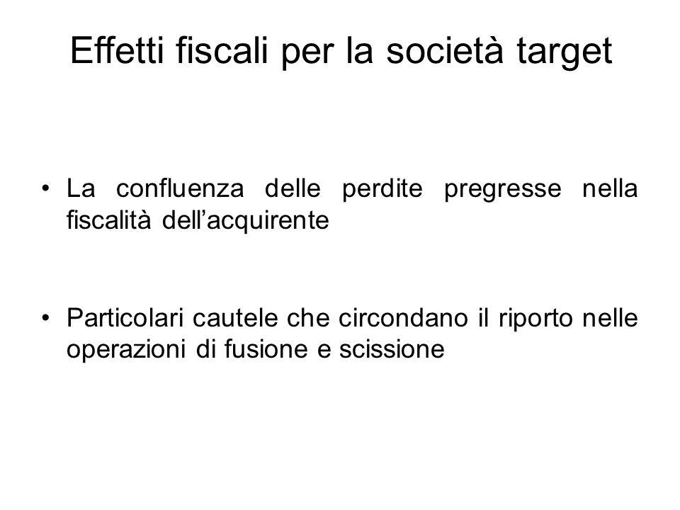 Effetti fiscali per la società target La confluenza delle perdite pregresse nella fiscalità dell'acquirente Particolari cautele che circondano il ripo