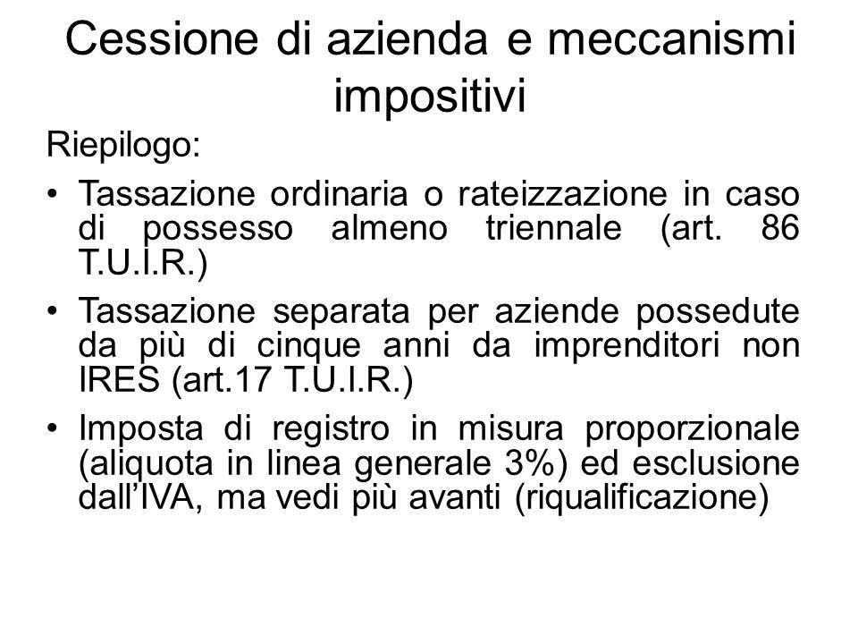 Cessione di azienda e meccanismi impositivi Riepilogo: Tassazione ordinaria o rateizzazione in caso di possesso almeno triennale (art. 86 T.U.I.R.) Ta