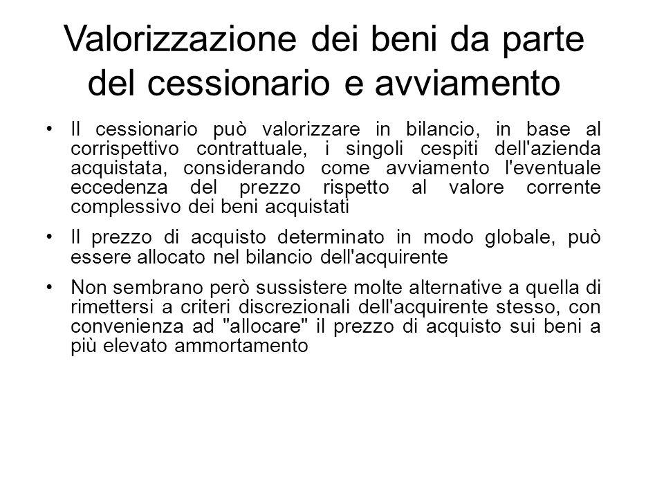 Valorizzazione dei beni da parte del cessionario e avviamento Il cessionario può valorizzare in bilancio, in base al corrispettivo contrattuale, i sin