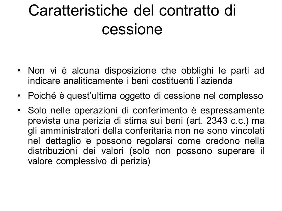 Caratteristiche del contratto di cessione Non vi è alcuna disposizione che obblighi le parti ad indicare analiticamente i beni costituenti l'azienda P