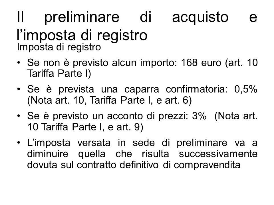 Il preliminare di acquisto e l'imposta di registro Imposta di registro Se non è previsto alcun importo: 168 euro (art. 10 Tariffa Parte I) Se è prev