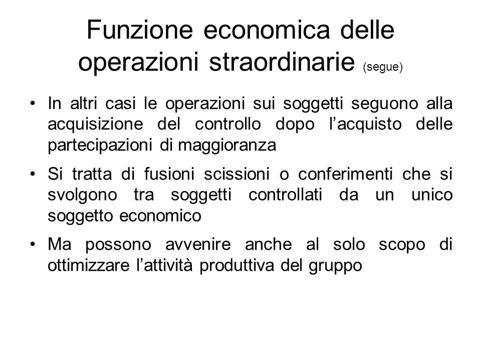 Funzione economica delle operazioni straordinarie (segue) In altri casi le operazioni sui soggetti seguono alla acquisizione del controllo dopo l'acqu