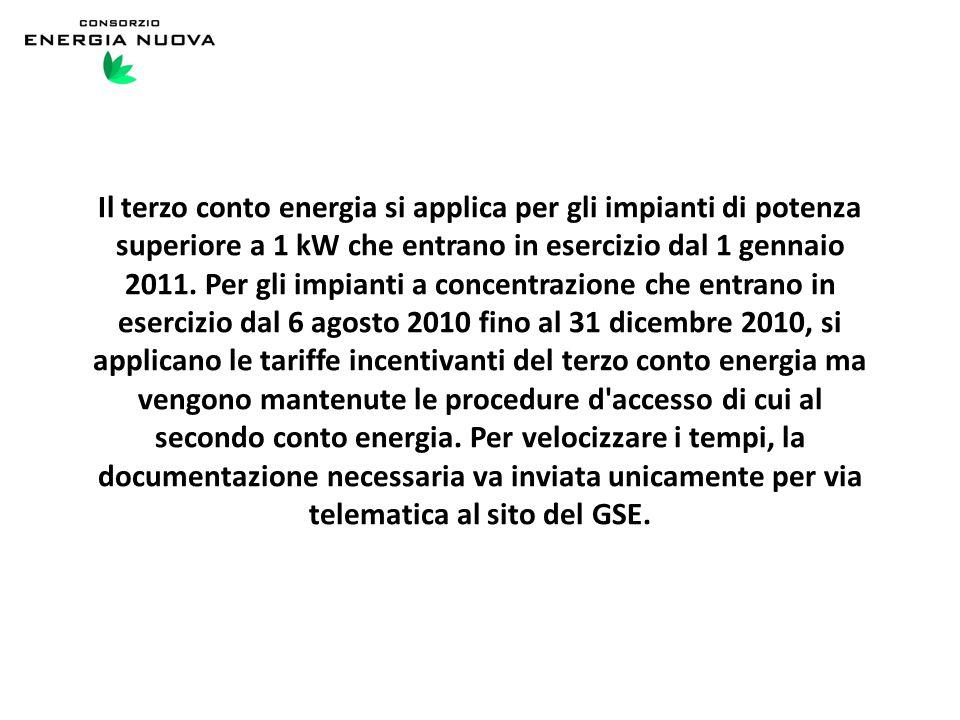 Il terzo conto energia si applica per gli impianti di potenza superiore a 1 kW che entrano in esercizio dal 1 gennaio 2011.