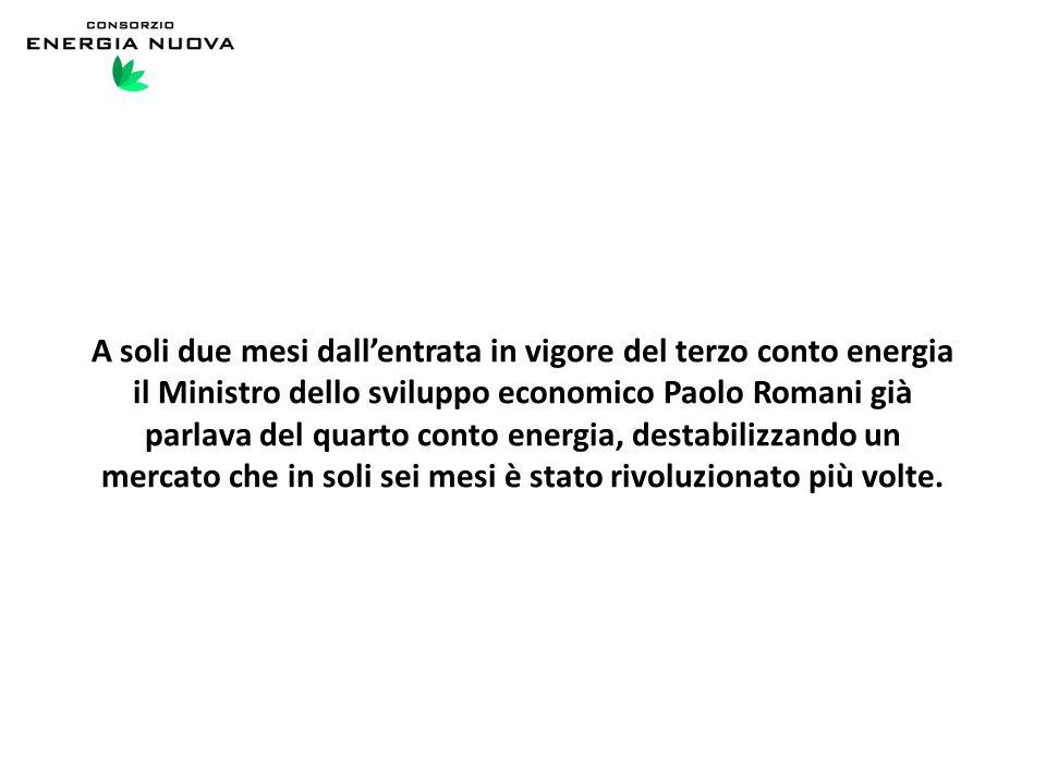 A soli due mesi dall'entrata in vigore del terzo conto energia il Ministro dello sviluppo economico Paolo Romani già parlava del quarto conto energia, destabilizzando un mercato che in soli sei mesi è stato rivoluzionato più volte.