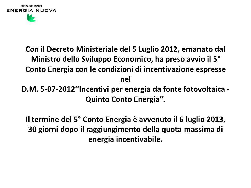 Con il Decreto Ministeriale del 5 Luglio 2012, emanato dal Ministro dello Sviluppo Economico, ha preso avvio il 5° Conto Energia con le condizioni di incentivazione espresse nel D.M.