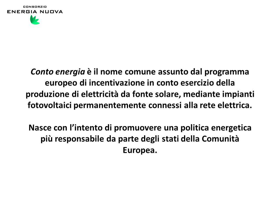 Conto energia è il nome comune assunto dal programma europeo di incentivazione in conto esercizio della produzione di elettricità da fonte solare, mediante impianti fotovoltaici permanentemente connessi alla rete elettrica.