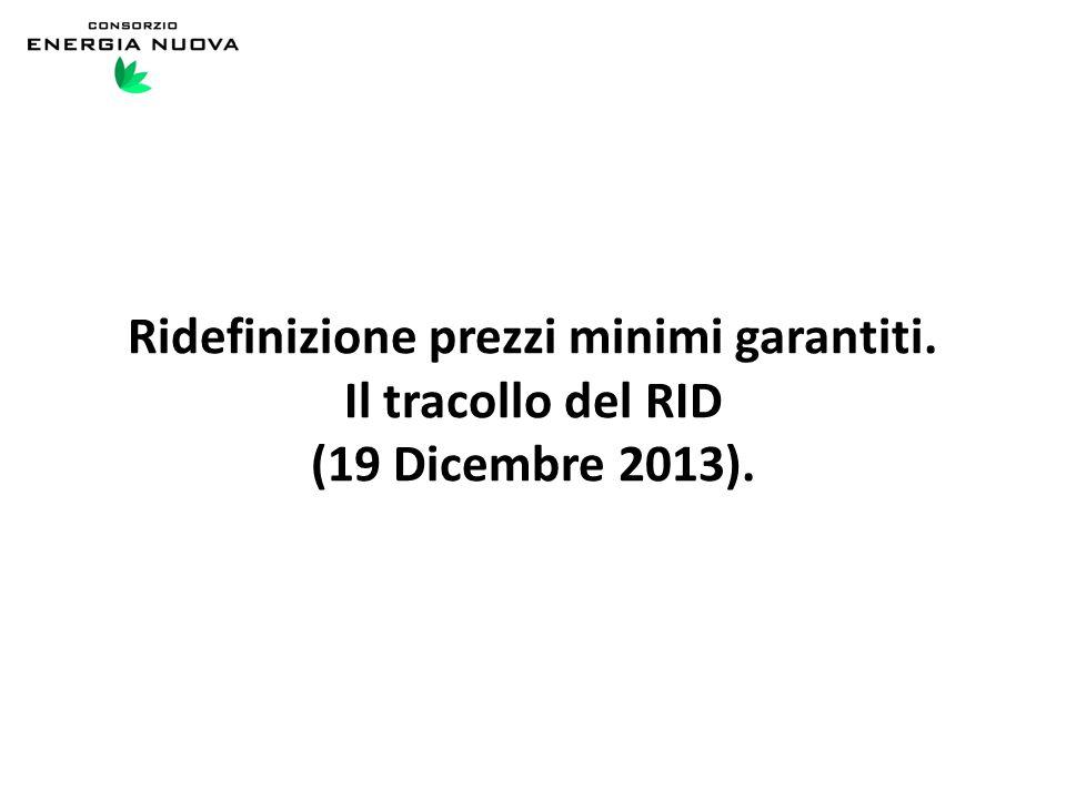 Ridefinizione prezzi minimi garantiti. Il tracollo del RID (19 Dicembre 2013).