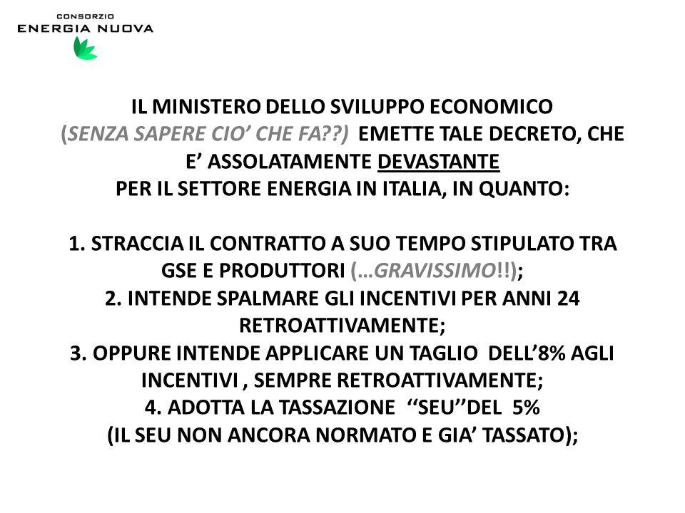 IL MINISTERO DELLO SVILUPPO ECONOMICO (SENZA SAPERE CIO' CHE FA ) EMETTE TALE DECRETO, CHE E' ASSOLATAMENTE DEVASTANTE PER IL SETTORE ENERGIA IN ITALIA, IN QUANTO: 1.