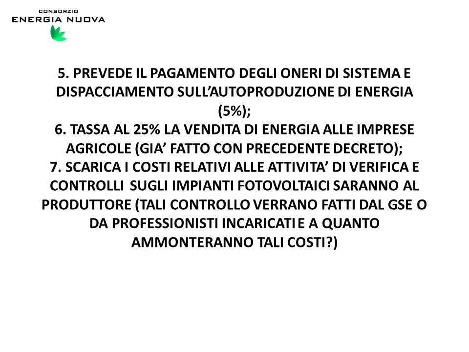 5. PREVEDE IL PAGAMENTO DEGLI ONERI DI SISTEMA E DISPACCIAMENTO SULL'AUTOPRODUZIONE DI ENERGIA (5%); 6. TASSA AL 25% LA VENDITA DI ENERGIA ALLE IMPRES
