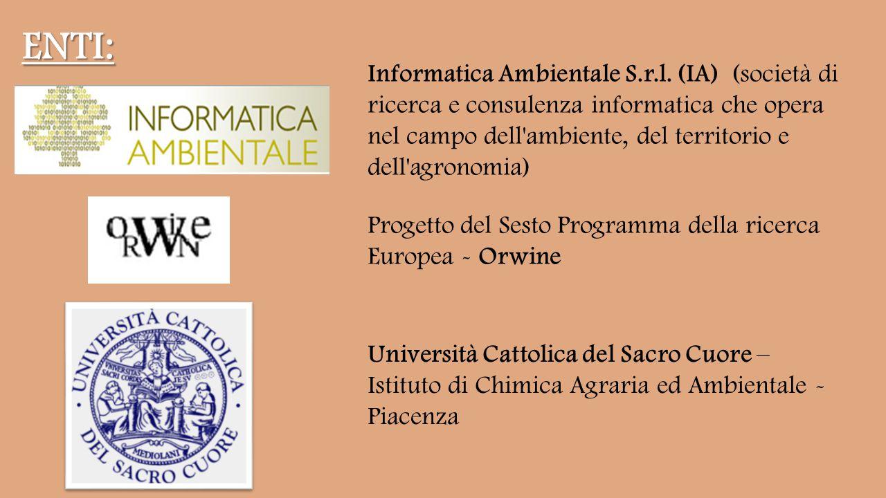 Progetto del Sesto Programma della ricerca Europea - Orwine Università Cattolica del Sacro Cuore – Istituto di Chimica Agraria ed Ambientale - Piacenza ENTI: Informatica Ambientale S.r.l.
