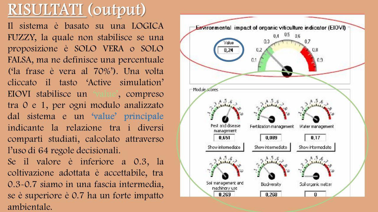 RISULTATI (output) Il sistema è basato su una LOGICA FUZZY, la quale non stabilisce se una proposizione è SOLO VERA o SOLO FALSA, ma ne definisce una percentuale ('la frase è vera al 70%').