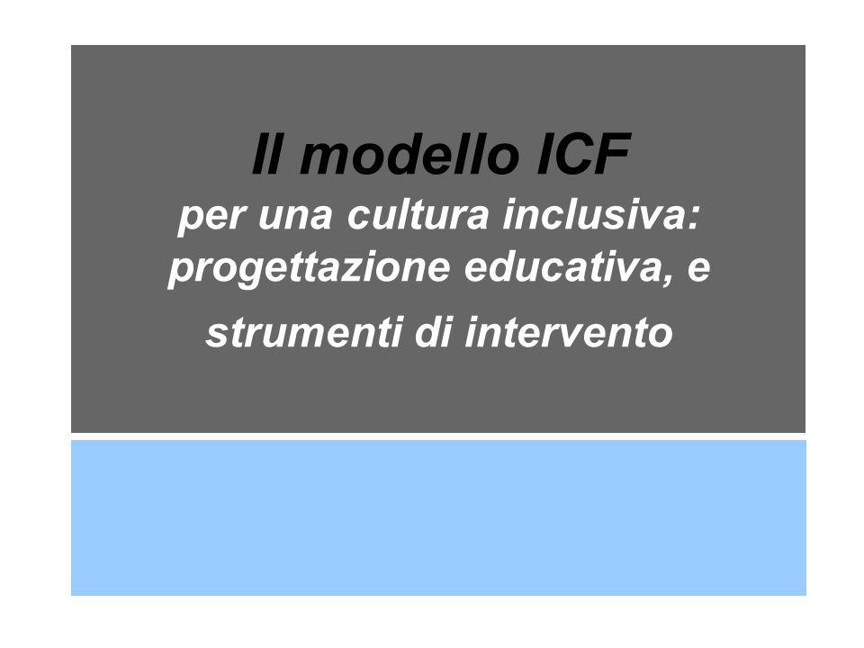 Intesa del 20 marzo 2008 Articolo 2 (Individuazione e percorso valutativo della persona disabile) 2.2 - Diagnosi Funzionale (DF) La Diagnosi Funzionale è redatta secondo i criteri del modello bio- psico-sociale alla base dell ICF dell Organizzazione Mondiale della Sanità, e si articola nelle seguenti parti: - approfondimento anamnestico e clinico; - descrizione del quadro di funzionalità nei vari contesti; - definizione degli obiettivi in relazione ai possibili interventi clinici sociali ed educativi e delle idonee strategie integrate di intervento; - individuazione delle tipologie di competenze professionali e delle risorse strutturali necessarie per l integrazione scolastica e sociale.