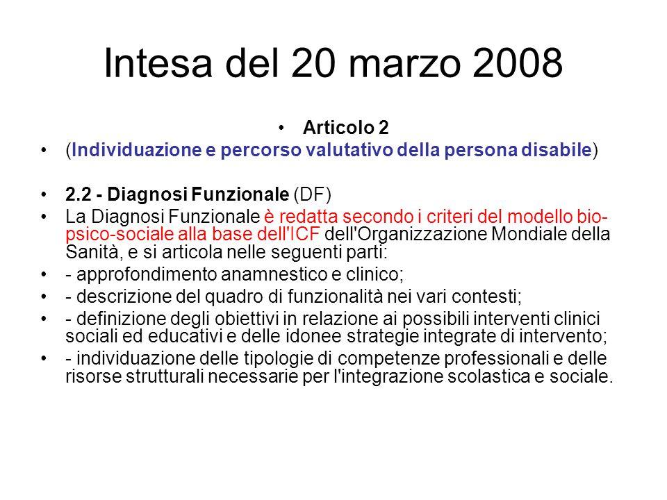 Intesa del 20 marzo 2008 Articolo 2 (Individuazione e percorso valutativo della persona disabile) 2.2 - Diagnosi Funzionale (DF) La Diagnosi Funzional