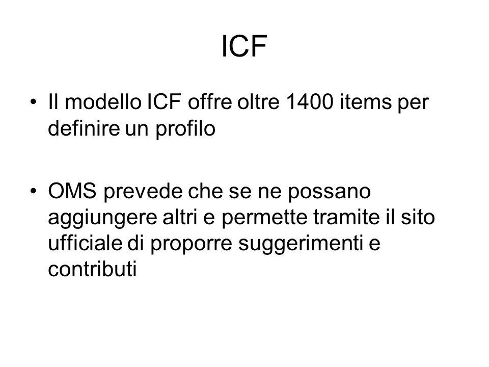 ICF Il modello ICF offre oltre 1400 items per definire un profilo OMS prevede che se ne possano aggiungere altri e permette tramite il sito ufficiale