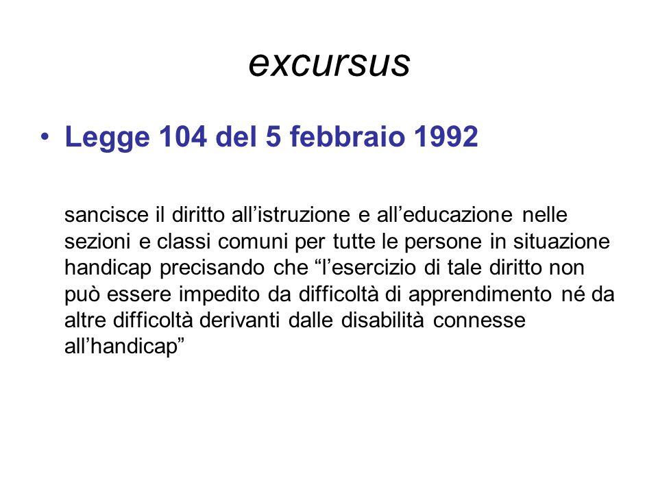 excursus Legge 104 del 5 febbraio 1992 sancisce il diritto all'istruzione e all'educazione nelle sezioni e classi comuni per tutte le persone in situa