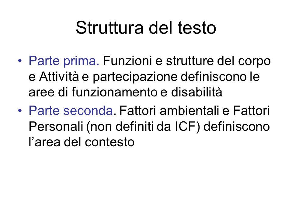 Struttura del testo Parte prima. Funzioni e strutture del corpo e Attività e partecipazione definiscono le aree di funzionamento e disabilità Parte se