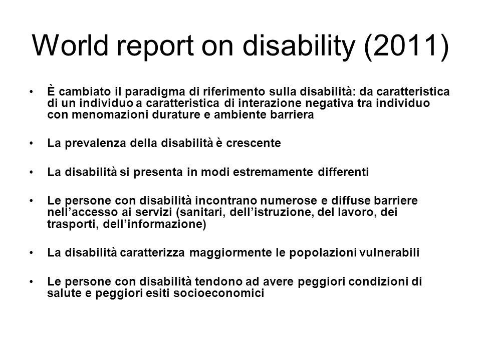 World report on disability (2011) È cambiato il paradigma di riferimento sulla disabilità: da caratteristica di un individuo a caratteristica di inter