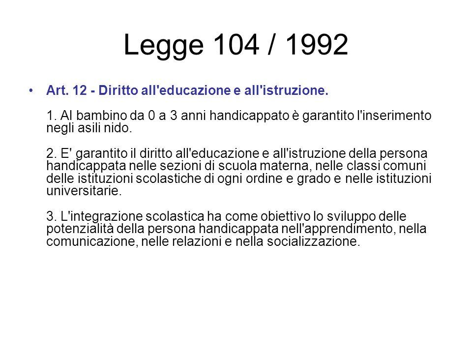 Legge 104 / 1992 Art. 12 - Diritto all'educazione e all'istruzione. 1. Al bambino da 0 a 3 anni handicappato è garantito l'inserimento negli asili nid