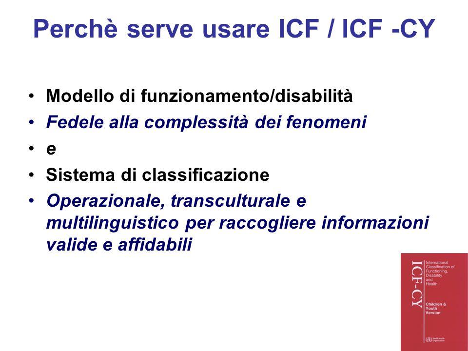 Perchè serve usare ICF / ICF -CY Modello di funzionamento/disabilità Fedele alla complessità dei fenomeni e Sistema di classificazione Operazionale, t