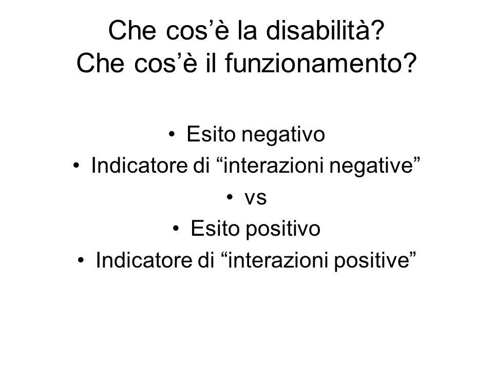 """Che cos'è la disabilità? Che cos'è il funzionamento? Esito negativo Indicatore di """"interazioni negative"""" vs Esito positivo Indicatore di """"interazioni"""