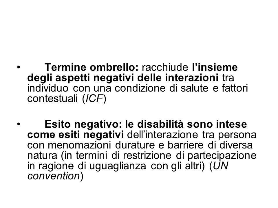 Termine ombrello: racchiude l'insieme degli aspetti negativi delle interazioni tra individuo con una condizione di salute e fattori contestuali (ICF)