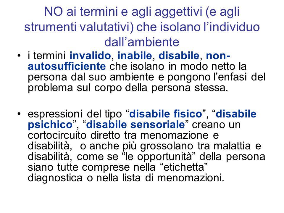 NO ai termini e agli aggettivi (e agli strumenti valutativi) che isolano l'individuo dall'ambiente i termini invalido, inabile, disabile, non- autosuf